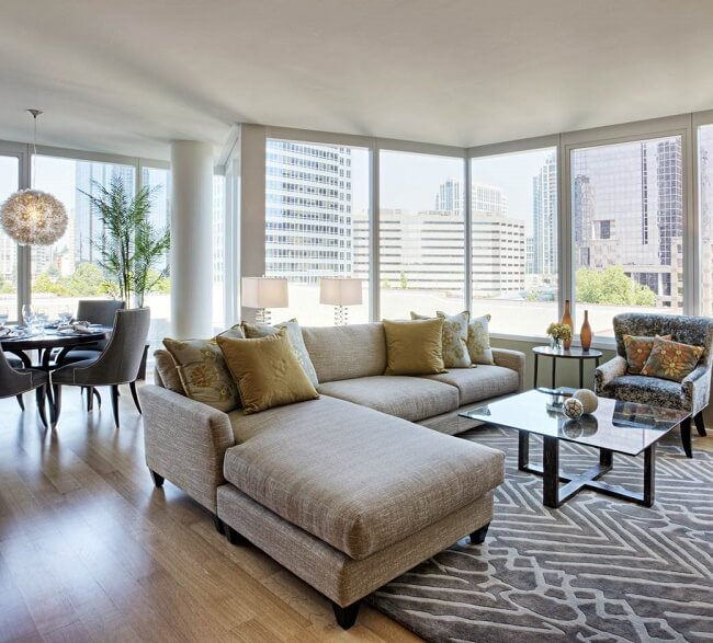 Spacious And Airy Living Room In A Modern Condo Unit